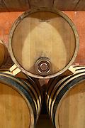 Domaine de Montcalmes in Puechabon. Terrasses de Larzac. Languedoc. Barrel cellar. Barrel with special metal fitting for red wine barrel fermentation. France. Europe.