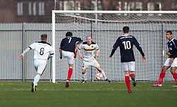 Falkirk's Thomas Grant misses in the first minutes..Dumbarton 0 v 2 Falkirk, 23/2/2013..©Michael Schofield.