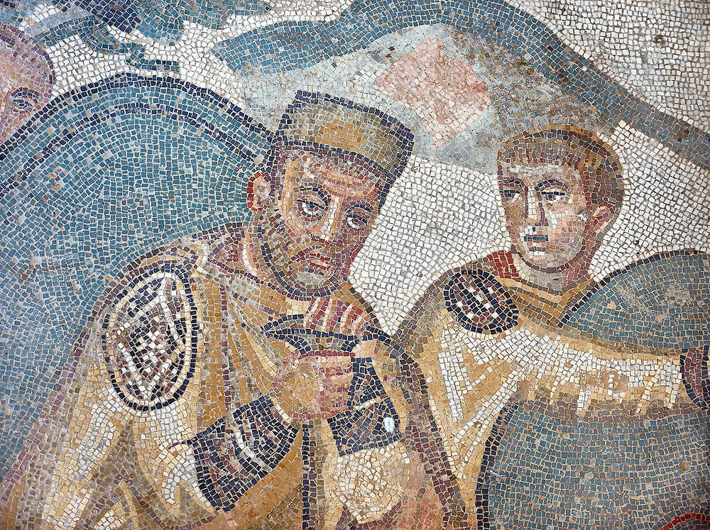 Mosiac of Emperor Maximianus from the Ambulatory of The Great Hunt, room no 28,  at the Villa Romana del Casale,  first quarter of the 4th century AD. Sicily, Italy. A UNESCO World Heritage Site. .<br /> <br /> If you prefer to buy from our ALAMY PHOTO LIBRARY  Collection visit : https://www.alamy.com/portfolio/paul-williams-funkystock/villaromanadelcasale.html<br /> Visit our ROMAN MOSAIC PHOTO COLLECTIONS for more photos to buy as buy as wall art prints https://funkystock.photoshelter.com/gallery/Roman-Mosaics-Roman-Mosaic-Pictures-Photos-and-Images-Fotos/G00008dLtP71H_yc/C0000q_tZnliJD08