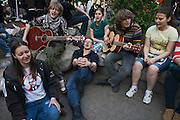 Moscow, Russia, 15/05/2012..Anti-Putin protesters sing in Chistiye Prudy, or Clean Ponds, as a Moscow court ordered the eviction of some 200 opposition activists who have set up camp in the city centre park.