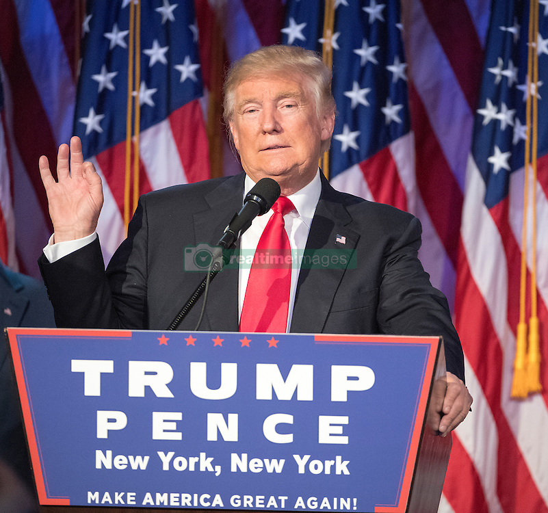 President-elect Donald Trump speaks to supporters at the Election Night Party at the Hilton Midtown Hotel in New York City, NY, USA, on Wednesday, November 9, 2016. Photo by J. Conrad Williams Jr./Newsday/TNS/ABACAPRESS.COM