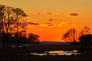 The orange post-sunset sky is reflected in the ponds found in the marsh of the Chincoteaque National Wildlife Refuge on Assateague Island, Virginia.