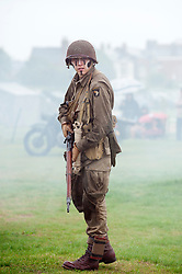 Sunday 19th August 2012 Lytham Saint Annes .A Northern World War Two Association (NWW2A) reenactor portraying a member of the US 101st Airborne (502nd) Parachute Infantry Regiment..19 August 2012.Image © Paul David Drabble