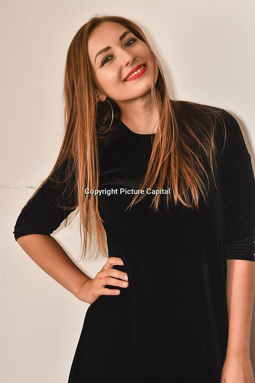 Violeta Skya is a singer backstage at SMGlobal Catwalk - London Fashion Week F/W19 at Clayton Crown Hotel,  Cricklewood Broadway, on 1st March 2019, London, UK.