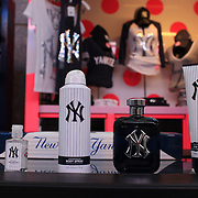 New York Yankees toiletries including body mist, hand sanitizer, body spray, aftershave and body wash on sale inside Yankee stadium during the New York Yankees V Baltimore Orioles Baseball game at Yankee Stadium, The Bronx, New York. 30th April 2012. Photo Tim Clayton