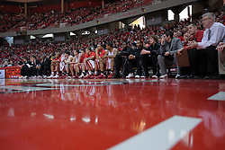 """31 January 2009: Illinois State Redbird bench.  The Illinois State University Redbirds join the Bradley Braves in a tie for 2nd place in """"The Valley"""" with a 69-65 win on Doug Collins Court inside Redbird Arena on the campus of Illinois State University in Normal Illinois"""