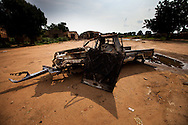 A SAF military truck in the destroyed town of EL Hamra on the outskirts of Kadulguli where fierce fighting between the SPLA and SAF forces continues. The SPLA says they took over EL Hamra in a short 20 minutes battle and were able to sieze over 40 trucks and truckloads of ammunition. So far the SPLA has been winning the key battles in the war. All civilians in the area have fled to the hills, though many remain trapped in Kadulguli.