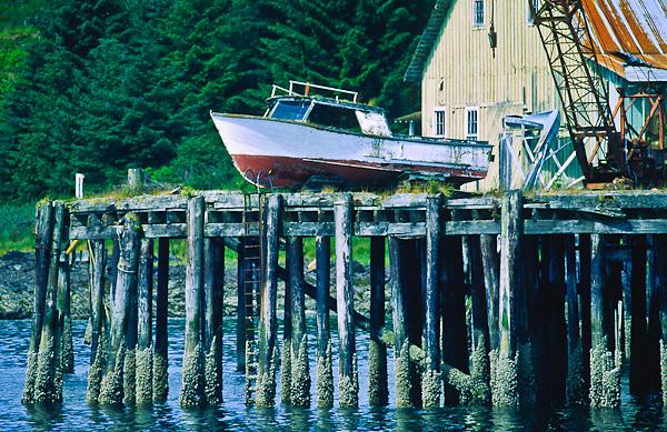 Fishing boat on a dock at an old cannery near Kake, Alaska.