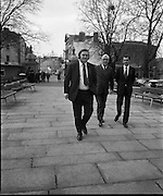 Dail Reassembles at Leinster House..1973..28.03.1973..03.28.1973..28th March 1973..After the recent general election The Dail resumed today at Leinster House,Dublin..Mr Flor Crowley TD,Cork, Mr Sean Moore TD,Dublin and Mr Ray McSharry TD,Sligo pictured on their arrival at start of business to government buildings.