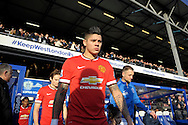 Marcos Rojo of Manchester United enters the pitch before k/o. Barclays Premier league match, Queens Park Rangers v Manchester Utd at Loftus Road in London on Saturday 17th Jan 2015. pic by John Patrick Fletcher, Andrew Orchard sports photography.