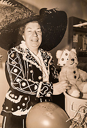 COLLECT: Joyce Rose, a former tea lady at at the BBC who gave bosses the idea for Children In Need, poses with Pudsey whilst dressed as a Pearly Queen. London, November 14 2018.