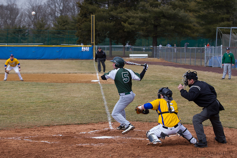 Raritan Valley Community College Baseball Sophomore Outfielder Neil Costanzo (5); Gloucester County College Baseball Left Handed Pitcher Jeff Davis (5) - Raritan Valley Baseball hosted by Gloucester County College at Gloucester County College in Sewell, NJ on Friday March 1, 2013. (photo / Mat Boyle)