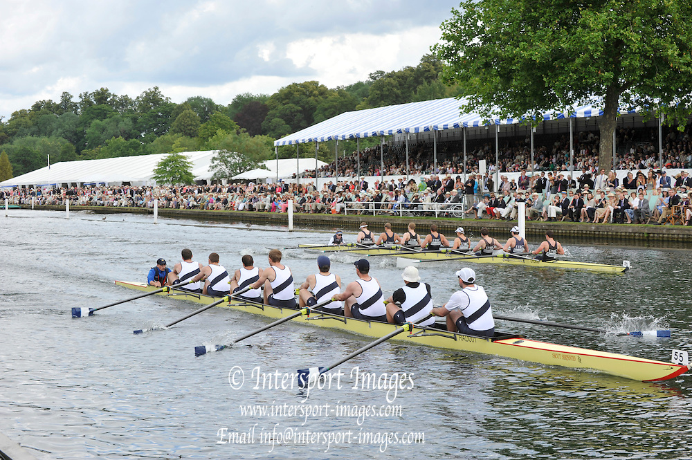 Henley, Great Britain. University Barge Club USA., leed home Upper Thames RC.  in a round of the Thames Challenge Cup.. Henley Royal Regatta, 2011 Henley Royal Regatta. River Thames Henley Reach.  Thursday   30/06/2011  [Mandatory Credit Peter Spurrier/ Intersport Images] 2011 Henley Royal Regatta. HOT. Great Britain . HRR