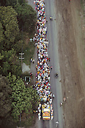 Aerial of Sikh festival parade at the Sikh Temple, rural Yuba City, California.