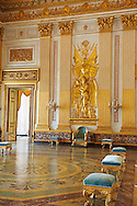 """""""The Throne Room""""  is nearly 40 meters long and was completed in 1845. On the back wall is placed a portable guilder throne. The decorations symbolise absolute power. The architrave in the room is decorated with portraits of the sovereigns of Naples stating with Roger the  Norman ending with Ferdinand II of Bourbon.   The Bourbon Kings of Naples Royal Palace of Caserta, Italy. .<br /> <br /> Visit our ITALY HISTORIC PLACES PHOTO COLLECTION for more   photos of Italy to download or buy as prints https://funkystock.photoshelter.com/gallery-collection/2b-Pictures-Images-of-Italy-Photos-of-Italian-Historic-Landmark-Sites/C0000qxA2zGFjd_k<br /> <br /> <br /> Visit our EARLY MODERN ERA HISTORICAL PLACES PHOTO COLLECTIONS for more photos to buy as wall art prints https://funkystock.photoshelter.com/gallery-collection/Modern-Era-Historic-Places-Art-Artefact-Antiquities-Picture-Images-of/C00002pOjgcLacqI"""