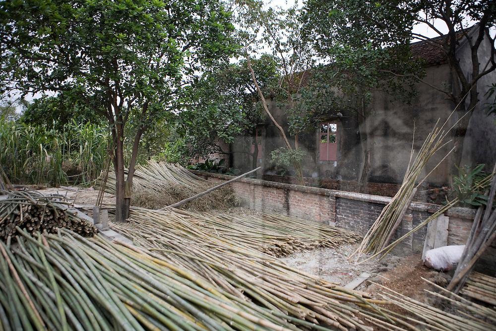 Stack of bamboo in Xuan Lai, a craft village close to Hanoi, Vietnam, Southeast Asia