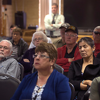 Mayor Jackie McKinney, City Councilor Fran Palochak and members of Veterans helping Veterans are among the crowd gathered at Ford Canyon Senior Center in Gallup Wednesday to discuss the process with the veterans cemetery construction.