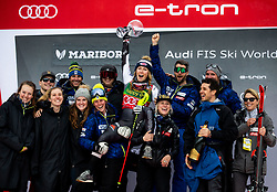 Winner SHIFFRIN Mikaela of USA and her team celebrate during Trophy ceremony after the 7th Ladies'  Slalom at 55th Golden Fox - Maribor of Audi FIS Ski World Cup 2018/19, on February 2, 2019 in Pohorje, Maribor, Slovenia. Photo by Matic Ritonja / Sportida