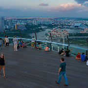 Panorama of Singapore's Marina Bay & Singapore Flyer From Skypark observation deck, Singapore