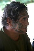 Tatoo, face, Puamau, Hiva Oa, Marquesas Islands, French Polynesia, (Editorial use only)<br />