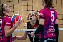 Jolien Knollema of Eurosped, Sanne Wagener of Talent Team in action during the league match Talentteam Papendal vs.  Eurosped on January 23, 2021 in Ede.