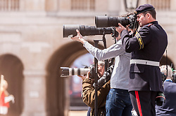 © Licensed to London News Pictures. 10/05/2015. London, UK. Military and press photographers await the war veterans and servicemen parade through Whitehall as part of the VE Day, 70th anniversary celebrations. Photo credit : Stephen Chung/LNP