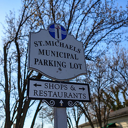 St. Michaels, MD, USA - March 30, 2013: The St Michaels Municipal Parking Lot Sign