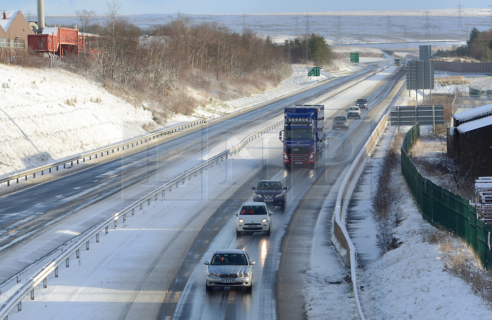 ©Licenced to London News Pictures. 08/12/17. Ebbs Vale, Wales,UK. Snow coming on the back of Storm Caroline, causes traffic disruption in South Wales. Here the A465 Heads of the Valleys Road has just reopened following an earlier accident due to conditions. Photo credit IAN HOMER/LNP