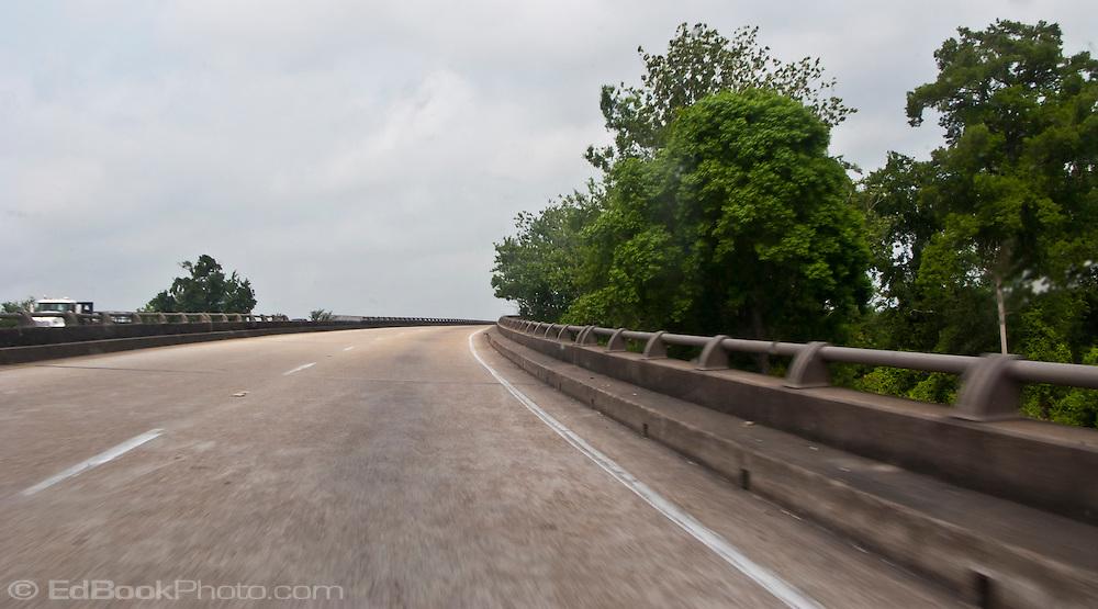 Bayou Des Allemands US-90 highway bridge at  the town of Des Allemands, Louisiana USA