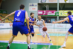 D. Vujasinovic of KK Zlatorog and J. Mocnik of KK Helios Suns  during basketball match between KK Zlatorog and KK Helios Suns in 1st match of Nova KBM Slovenian Champions League Final 2015/16 on May 29, 2016  in Dvorana Zlatorog, Lasko, Slovenia.  Photo by Ziga Zupan / Sportida
