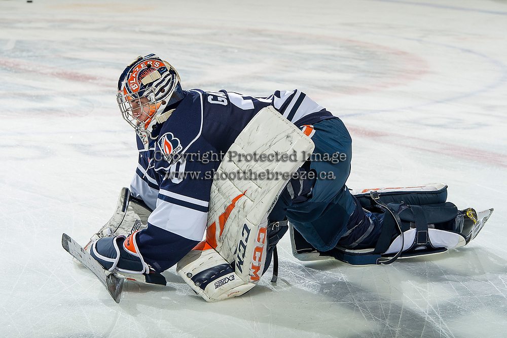 KELOWNA, BC - FEBRUARY 02:  Dylan Garand #30 of the Kamloops Blazers stretches on the ice during warm up against the Kelowna Rockets at Prospera Place on February 2, 2019 in Kelowna, Canada. (Photo by Marissa Baecker/Getty Images)