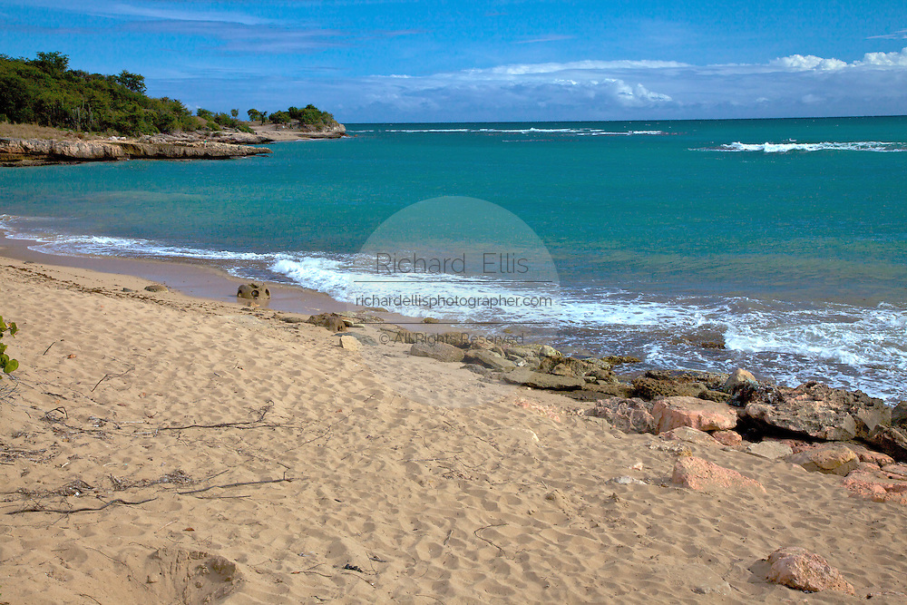 Empty beach of Whale Bay in the Bosque Estatal de Guanica forest reserve in Puerto Rico considered the best example of dry forest in the Caribbean.