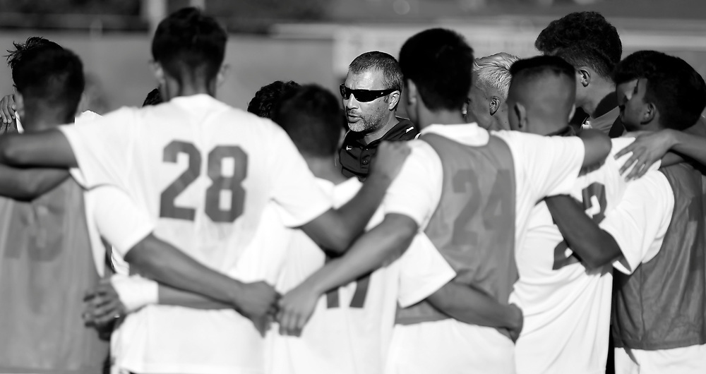 11/4/16 4:46:45 PM  -- Golden West College's mens soccer coach Alex Gimenez addresses his team during their match against Fullerton College. --Fullerton College, Fullerton, Ca<br /> <br /> Photo by Joe Bergman / Sports Shooter Academy