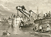 'A Smeaton-type diving bell being lowered so that the bed of the River Thames could be examined during the construction of the  Thames Tunnel 1825-1843. Engraving, c1885.'