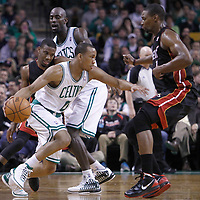 01 April 2012: Boston Celtics shooting guard Avery Bradley (0) drives past Miami Heat point guard Norris Cole (30) on a screen set by Boston Celtics power forward Kevin Garnett (5) and faces Miami Heat power forward Chris Bosh (1) during the Boston Celtics 91-72 victory over the Miami Heat at the TD Banknorth Garden, Boston, Massachusetts, USA. NOTE TO USER: User expressly acknowledges and agrees that, by downloading and or using this photograph, User is consenting to the terms and conditions of the Getty Images License Agreement. Mandatory Credit: 2012 NBAE (Photo by Chris Elise/NBAE via Getty Images)