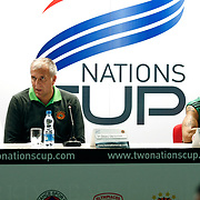 Panathinaikos's coach Zelimir OBRADOVIC (L) and David Kyle LOGAN (R) during their Two Nations Cup basketball match Anadolu Efes between Panathinaikos at Abdi Ipekci Arena in Istanbul Turkey on Saturday 01 October 2011. Photo by TURKPIX