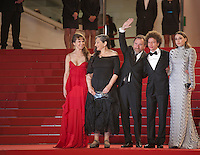 Actress Nailea Norvind, Robin Bartlett, actor Tim Roth, director Michel Franco, actress Sarah Sutherland at the gala screening for the film Chronic at the 68th Cannes Film Festival, Friday 22nd May 2015, Cannes, France.