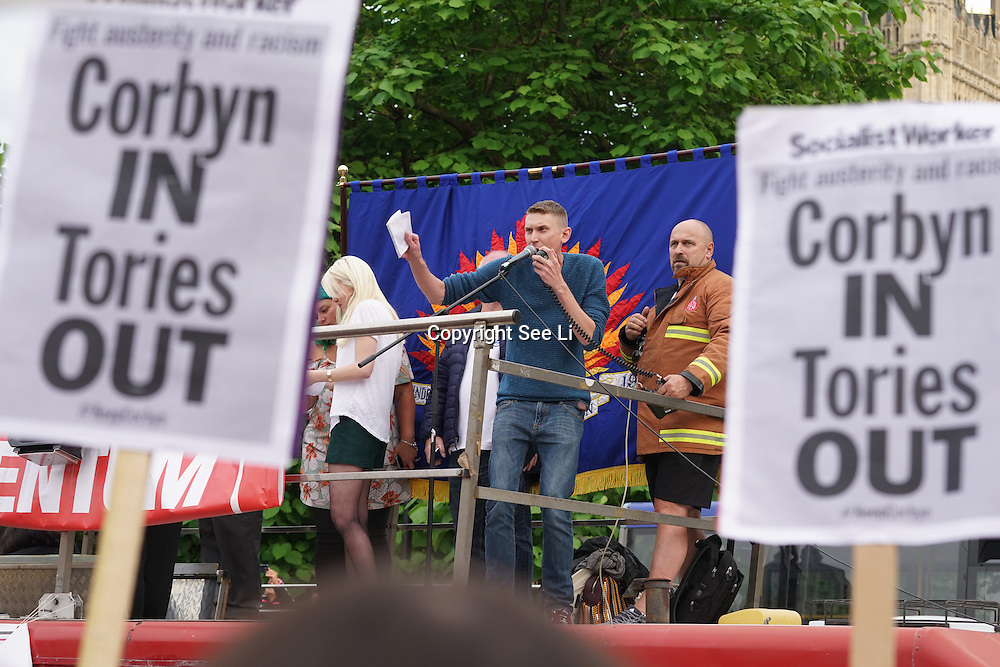London,England,UK : 27th June 2016 : Speaker Sam Fairbairn National Secretary The Peoples Assembly Students addresses the crowd KeepCorbyn protest against coup and Build our movement  at Parliament Square, London,UK. photo by See Li
