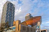 Spain, Barcelona. The Hotel Arts and Torre Mapfre. Golden fish sculpture.