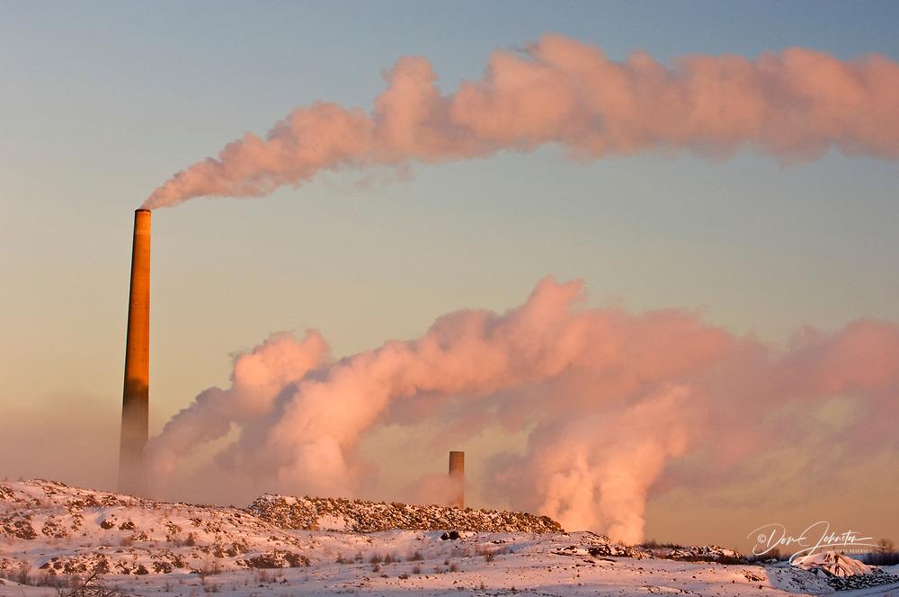 Vale INCO Superstack on a cold winter morning, Sudbury, Ontario, Canada