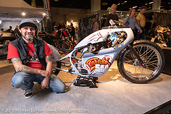 Marco Cassiolari or Verona, Italy with his custom 1979 Moto Morini 500 LSR in the AMD World Championship of Custom Bike Building in the Intermot Customized hall during the Intermot International Motorcycle Fair. Cologne, Germany. Wednesday October 3, 2018. Photography ©2018 Michael Lichter.