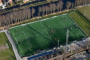 Nederland, Zuid-Holland, Gouda, 20-03-2009; voetbaltraining op kunststof voetbalveld. Football training on artificial grass..Swart collectie, luchtfoto (toeslag); Swart Collection, aerial photo (additional fee required).foto Siebe Swart / photo Siebe Swart