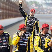 31 July 2011: Sprint Cup Series driver Paul Menard (27) waves to the crowd as he makes his way to kiss the Yard of Bricks at the Brickyard 400 NASCAR Sprint Cup Series race at the Indianapolis Motor Speedway in Indianapolis, IN