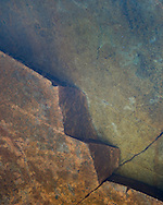 Detail of a fractured rock in a pool near the Corrieshalloch Gorge in Assynt, Scotland