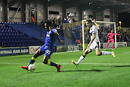 AFC Wimbledon striker Dominic Poleon (10) is watched by Plymouth Argyle defender & captain Gary Miller (2) during the EFL Trophy match between AFC Wimbledon and Plymouth Argyle at the Cherry Red Records Stadium, Kingston, England on 4 October 2016. Photo by Stuart Butcher.