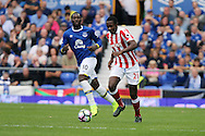 Gianelli Imbula of Stoke City gets away from Romelu Lukaku of Everton. Premier league match, Everton v Stoke city at Goodison Park in Liverpool, Merseyside on Saturday 27th August 2016.<br /> pic by Chris Stading, Andrew Orchard sports photography.
