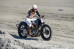 "Brittney Olsen racing the Matt Olsen built ""One of One"" Harley-Davidson at the Race of Gentlemen. Wildwood, NJ, USA. October 11, 2015.  Photography ©2015 Michael Lichter."