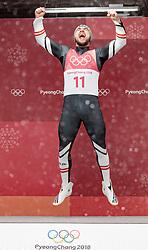 11.02.2018, Olympic Sliding Centre, Pyeongchang, KOR, PyeongChang 2018, Rodeln, Herren, flowers ceremony, im Bild David Gleirscher (AUT, 1. Platz und Goldmedaillengewinner) // gold medalist and Olympic champion David Gleirscher of Austria during the flowers ceremony of the Men's Luge Singles competition at the Olympic Sliding Centre in Pyeongchang, South Korea on 2018/02/11. EXPA Pictures © 2018, PhotoCredit: EXPA/ Johann Groder