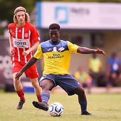 BRISBANE, AUSTRALIA - MARCH 4: Jacob Bigby of Thunder passes the ball during the NPL Queensland Senior Mens Round 5 match between Olympic FC and SWQ Thunder at Goodwin Park on March 4, 2017 in Brisbane, Australia. (Photo by Patrick Kearney/Olympic FC)