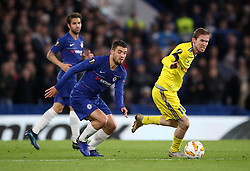 Chelsea's Mateo Kovacic and BATE Borisov's Aleksandr Hleb (right) battle for the ball during the UEFA Europa League, Group L match at Stamford Bridge, London.